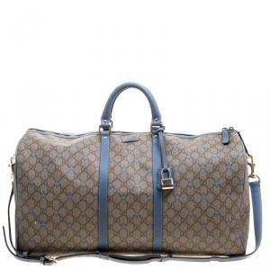 Gucci Beige/Blue GG Supreme Star Canvas Large Carry On Duffle Bag