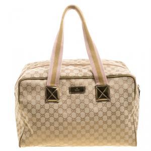 Gucci Beige GG Canvas Carryall Duffel Bag