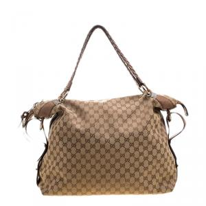 Gucci Beige GG Canvas Large Bamboo Bar Travel Bag