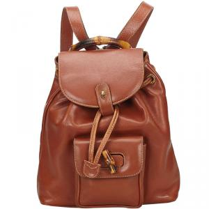 Gucci Bamboo Calfskin Leather Drawstring Backpack