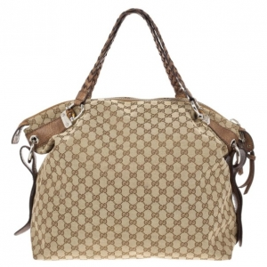 Gucci Beige GG Canvas Large 'Bamboo Bar' Travel Tote