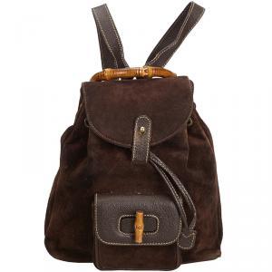 Gucci Dark Bamboo Suede Drawstring Backpack