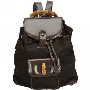 Gucci Brown Nylon Bamboo Backpack