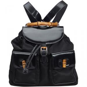 Gucci Black Bamboo Canvas Drawstring Backpack
