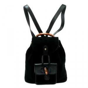 حقيبة ظهر غوتشي يد ميني بامبو جلد سويدي أسود
