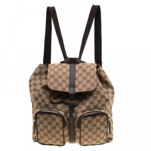 Gucci Beige GG Canvas Jackie Backpack