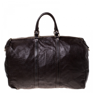 Gucci Brown Guccissima Leather Carry On Duffle Bag