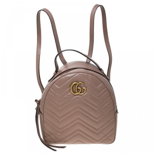 Gucci Beige Matelasse Leather GG Marmont Backpack