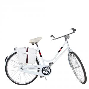 Gucci White Carbon Fiber & Aluminum Limited Edition Bicycle with Monogram Saddle Bags