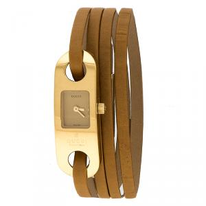 Gucci Gold Tone Stainless Steel Leather Wrap 6100L Women's Wristwatch 14 mm