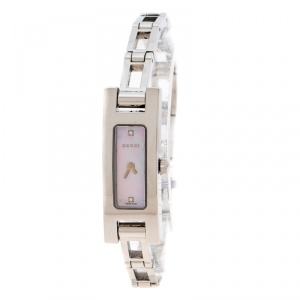 Gucci Pink Mother of Pearl Stainless Steel And Diamond 3900L Women's Wristwatch 12 mm