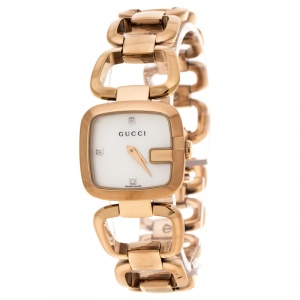 Gucci White Mother of Pearl Rose Gold Plated Steel G Series 125.5 Women's Wristwatch 24 mm
