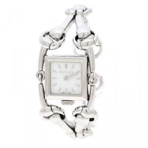 Gucci White Stainless Steel Signoria Horsebit 116.5 Women's Wristwatch 20 mm