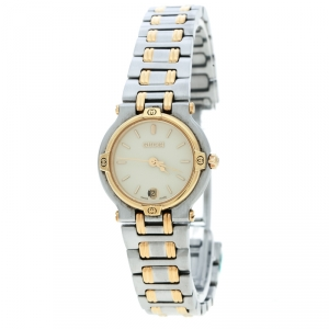 Gucci Cream Two-Tone Stainless Steel 9000L Women's Wristwatch 25 mm