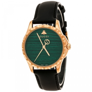 Gucci Green Gold Plated Stainless Steel Le Marché Des Merveilles 126.4 Women's Wristwatch 38 mm