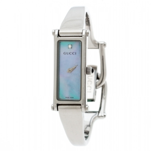 Gucci Blue Mother of Pearl Stainless Steel 1500 L Women's Wristwatch 12MM