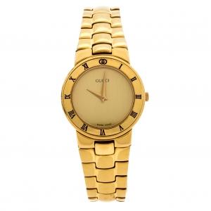 Gucci Golden Gold Plated 3300.2.L Women's Wristwatch 25MM