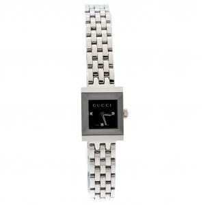 Gucci Black Stainless Steel G-Frame Diamonds 128.5 Women's Wristwatch 14 mm
