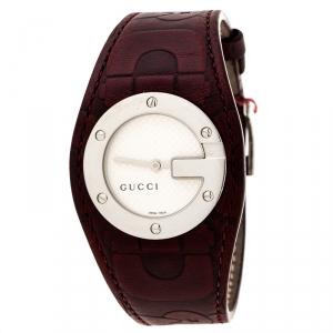 Gucci Silver White 104 Bandeau Leather Women's Wristwatch 31 mm