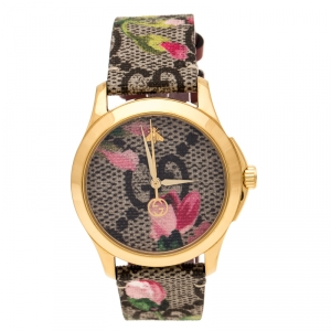 Gucci Pink Blooms Print Gold Plated Stainless Steel G-Timeless 126.4 Women's Wristwatch 36 mm