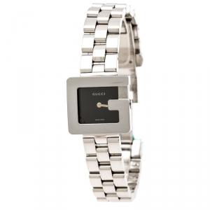 Gucci Black Stainless Steel G 3600L Women's Wristwatch 23 mm