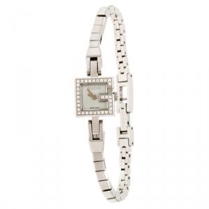 Gucci Mother of Pearl Stainless Steel Diamonds G-Mini YA102541 Women's Wristwatch 14 mm