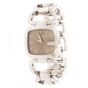Gucci Brown Stainless Steel G 125.5 Women's Wristwatch 24 mm