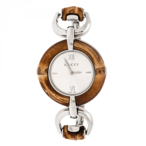 Gucci Silver Stainless Steel Bamboo 132.4 Women's Wristwatch 35 mm