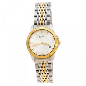 Gucci Silver Two-Tone Stainless Steel G-Timeless 126.5 Women's Wristwatch 27 mm