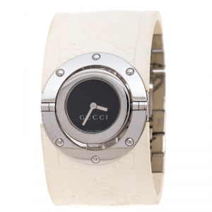 Gucci Black Stainless Steel Guccissima Monogram Twirl YA112520 Women's Wristwatch 23 mm