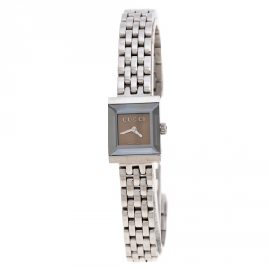 Gucci Brown Stainless Steel G Frame 128.5 Women's Wristwatch 14MM