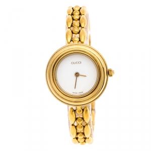 Gucci White Yellow Gold Plated Vintage Interchangeable Bezel 11/12.2 Women's Wristwatch 26 mm