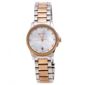 ساعة يد نسائية غوتشي G-Timeless 126.5 ألماسات ستانلس ستيل لونين صدف 27 مم