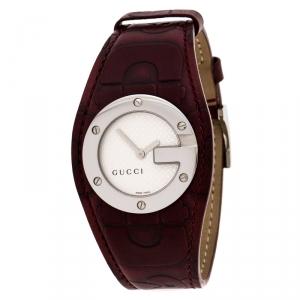 ساعة يد نسائية غوتشي بندو 104 جلد بيضاء فضية 31 مم
