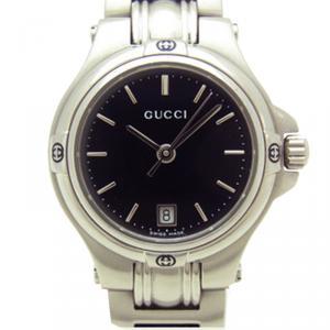 ساعة يد نسائية غوتشي 9040L  ستانلس ستيل مستديرة سوداء 26مم