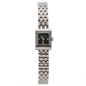 ساعة يد نسائية غوتشي 128.5 ألماسات G- إطار ستانلس ستيل سوداء 14 مم