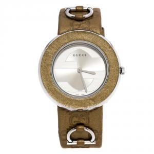 ساعة يد نسائية غوتشي U-Play 129.4 ستانلس ستيل فضية 35 مم