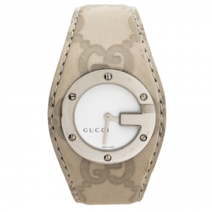 Gucci White Stainless Steel Leather G-Bandeau 104 Women's Wristwatch 31 mm