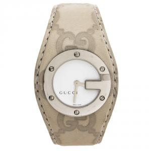 ساعة يد نسائية غوتشي  G-Bandeau 104 ستانلس ستيل و جلد بيضاء 31 مم