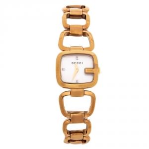 ساعة يد نسائية غوتشي G Series 125.5 ستانلس ستيل مطلية ذهب صدف 24 مم