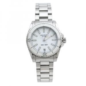 ساعة يد نسائية غوتشي دايف 136.4 ستانلس ستيل بيضاء 32 مم