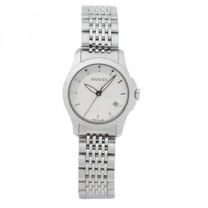 ساعة يد نسائية غوتشي جي - تايملس 126.5 ستانلس ستيل بيضاء فضية 27 مم