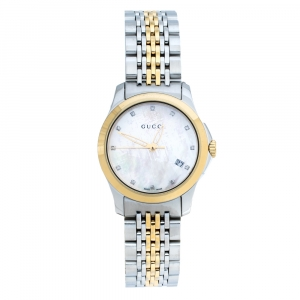 Gucci Mother of Pearl Two-Tone Stainless Steel Diamonds G-Timeless 126.5 Women's Wristwatch 27 mm