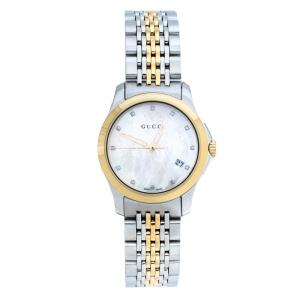ساعة يد نسائية غوتشي جي-تايملس 126.5 ألماسات ستانلس ستيل لونين صدف 27 مم