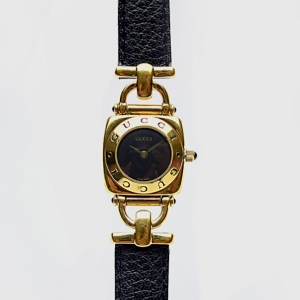 Gucci SS Leather Womens Wristwatch 21 MM