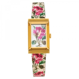 Gucci White Mother Of Pearl Floral Gold Tone Stainless Steel G-Frame 147.4 Women's Wristwatch 21 mm
