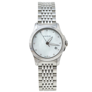 Gucci Mother Of Pearl Stainless Steel Diamond G-Timeless YA126504 Women's Wristwatch 27 mm