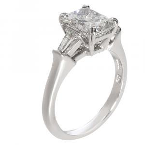 Harry Winston Radiant Diamond Engagement Platinum Ring Size EU 50.5