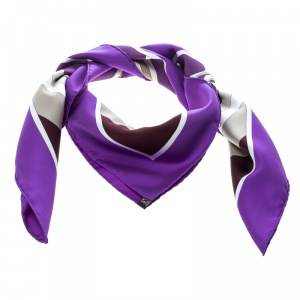 Hermes Mecanique Du Temps Ultra Violet Printed Silk Square Scarf