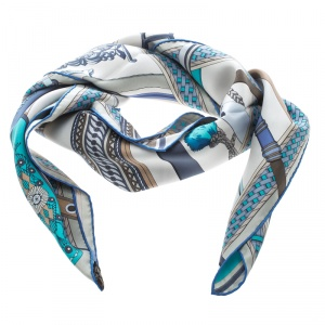 Hermes Beige and Blue Concours D'Etriers Printed Silk Square Scarf
